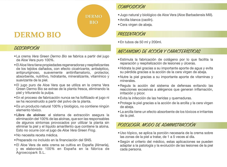 Vera Green Dermo Bio. Crema de Aloe Vera corporal ultrarreparadora. 100% Natural. (50 ml): Amazon.es: Belleza