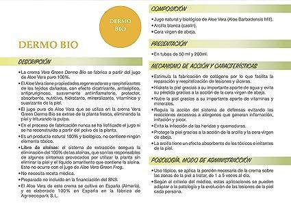Vera Green Dermo Bio. Crema de Aloe Vera corporal ultrarreparadora. 100% Natural. (50 ml)