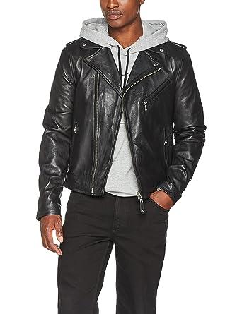 Schott Biker Leather Chaqueta, Negro Black, Small para Hombre