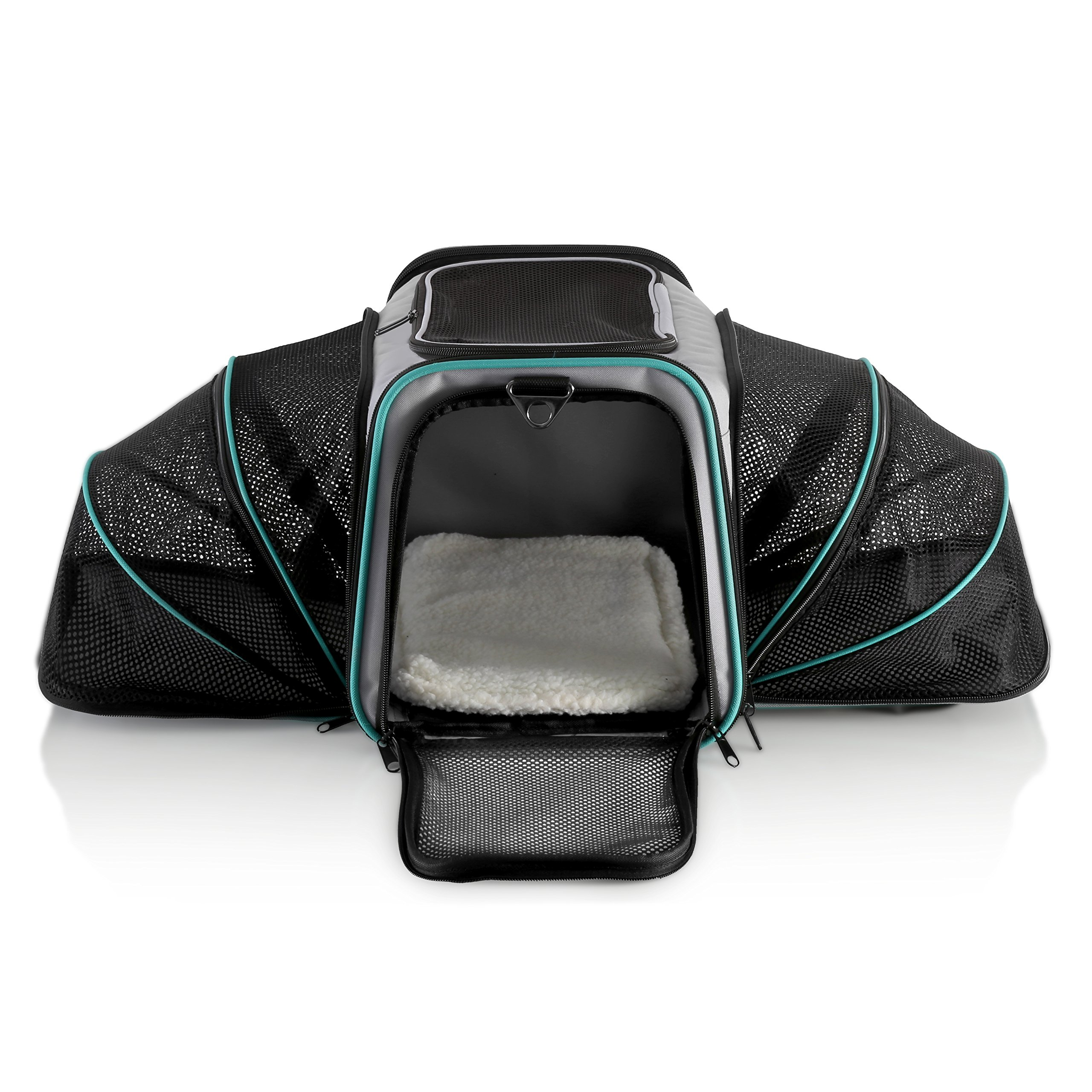 Dual Expandable Pet Carrier with Soft Sided Crate for Small Animals - Airline Approved Pet Carrier with Adjustable Shoulder Strap and Handle for Dogs Cats   Terminal Friendly Carry Bag for Pets-Grey