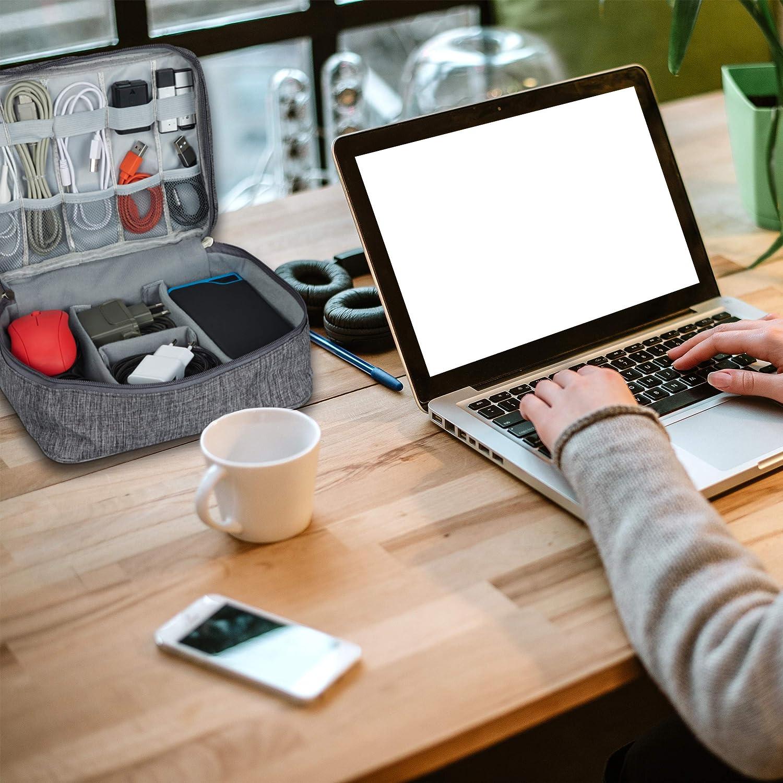 Organizer f/ür Ladekabel grau PC Zubeh/ör Relaxdays Kabeltasche 1 St/ück USB Stick Kabelaufbewahrung HxBxT: 11x25x20 cm Stoff