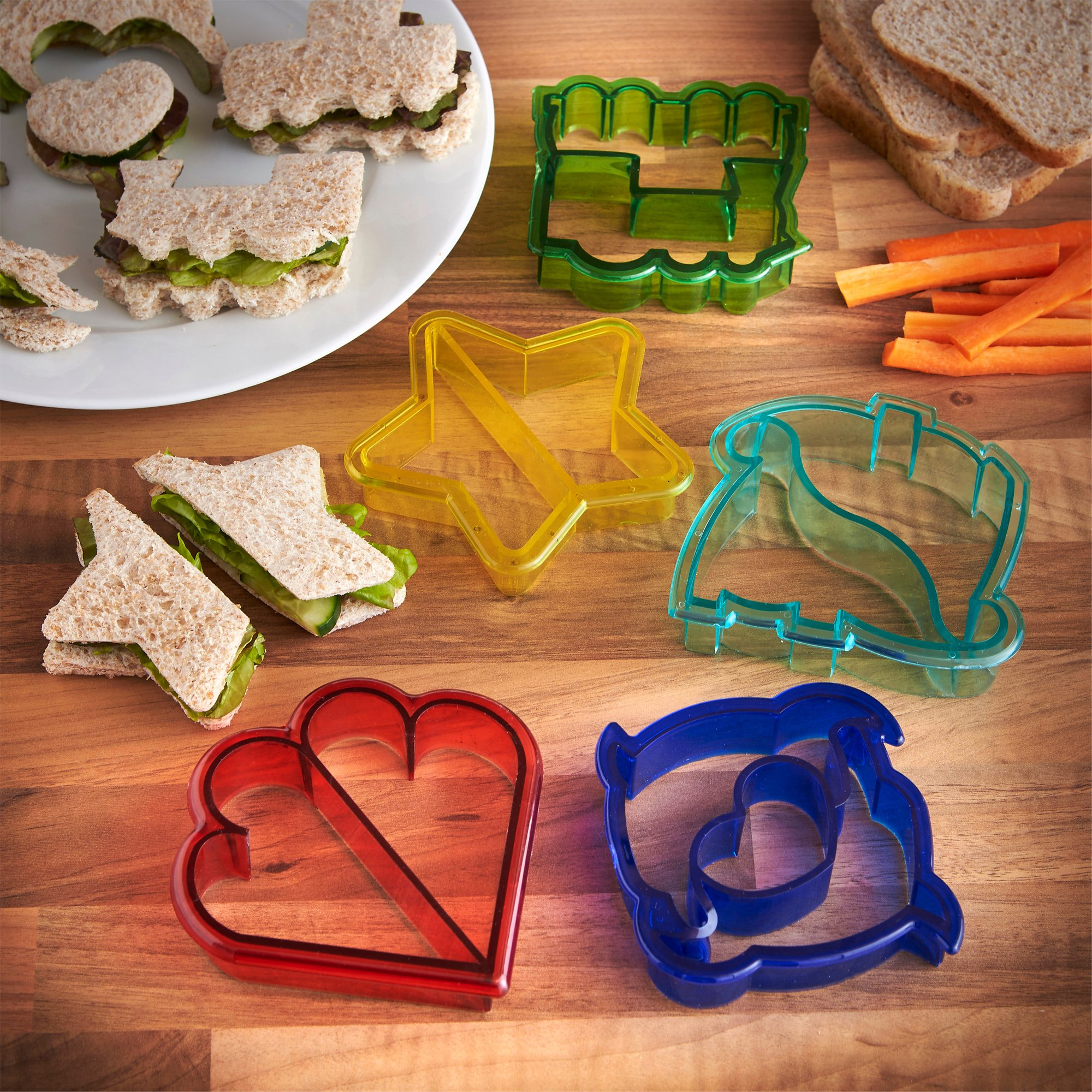 VonShef Fun Cookie Cake and Sandwich Cutter Shapes for Kids, Set of 5 Shapes Dinosaur, Dolphin, Heart, Star and Train, Multi Colored, 5pc by VonShef (Image #2)