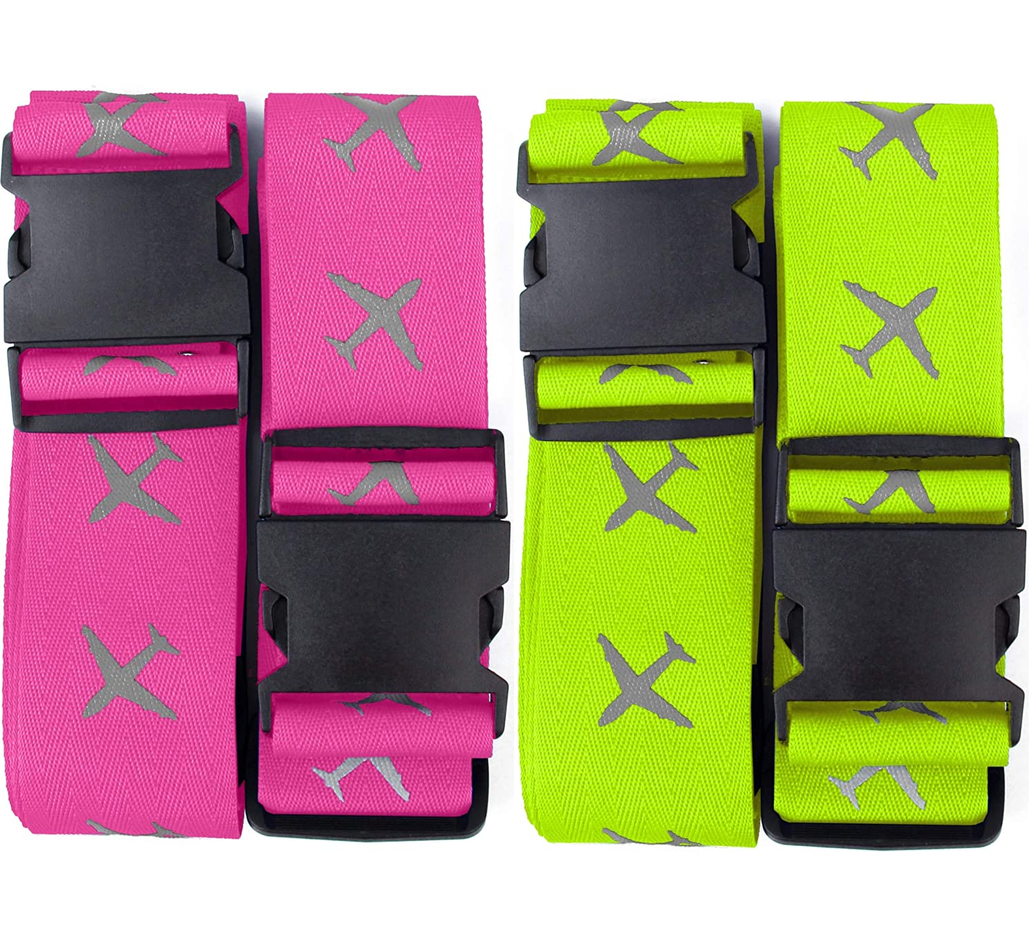 Luggage Straps Suitcase Travel Packing Belt Accessories with Name Tag 4 Pack 2 Pink /& 2 Green