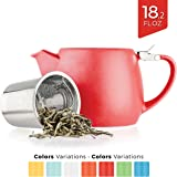 Tealyra - Pluto Porcelain Small Teapot Red - 18.2-ounce (1-2 cups) - Stainless Steel Lid and Extra-Fine Infuser To Brew Loose Leaf Tea - Ceramic Tea Brewer - 540ml