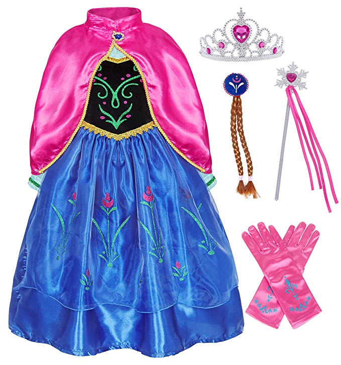 Cotrio Little Girls Anna Princess Dresses Party Fancy Dress Halloween Costume Outfits Crown Scepter Accessories Set (4T, 3-4 Years, Navy Blue)