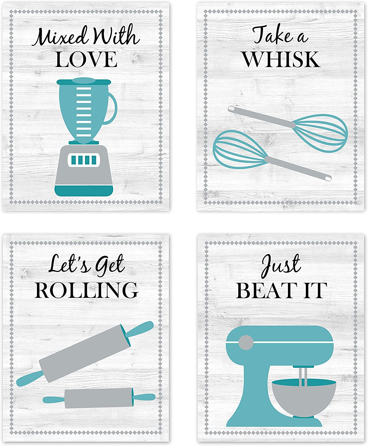 Turquoise Teal Blue, Black, Gray and White Retro Vintage Inspirational Kitchen Restaurant Utensil Wall Art Baking Chef Cooking Wood Grain Prints Posters Signs Sets for Rustic Modern Farmhouse Country Home Dining Room Decor Decorations Funny Sayings Quotes Unframed 8x10