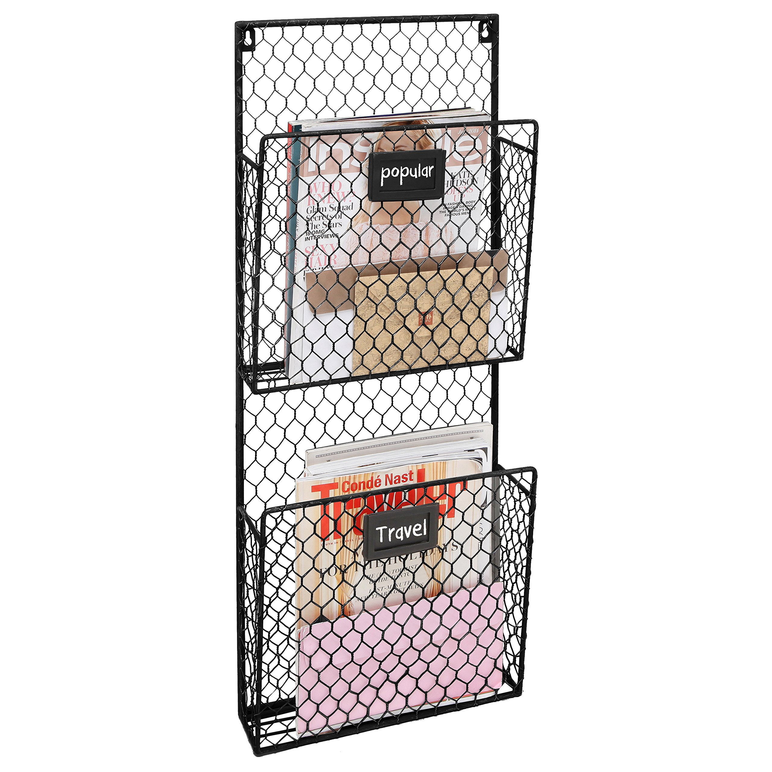 2-Pocket Rustic Wall Mounted Chicken Wire Metal Document Rack/Magazine Holder with Chalkboard Labels