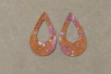 """Leather Earrings Teardrop Window Die Cut 12pk Gutsy Green Camo /""""Fashionista/"""" DIY"""