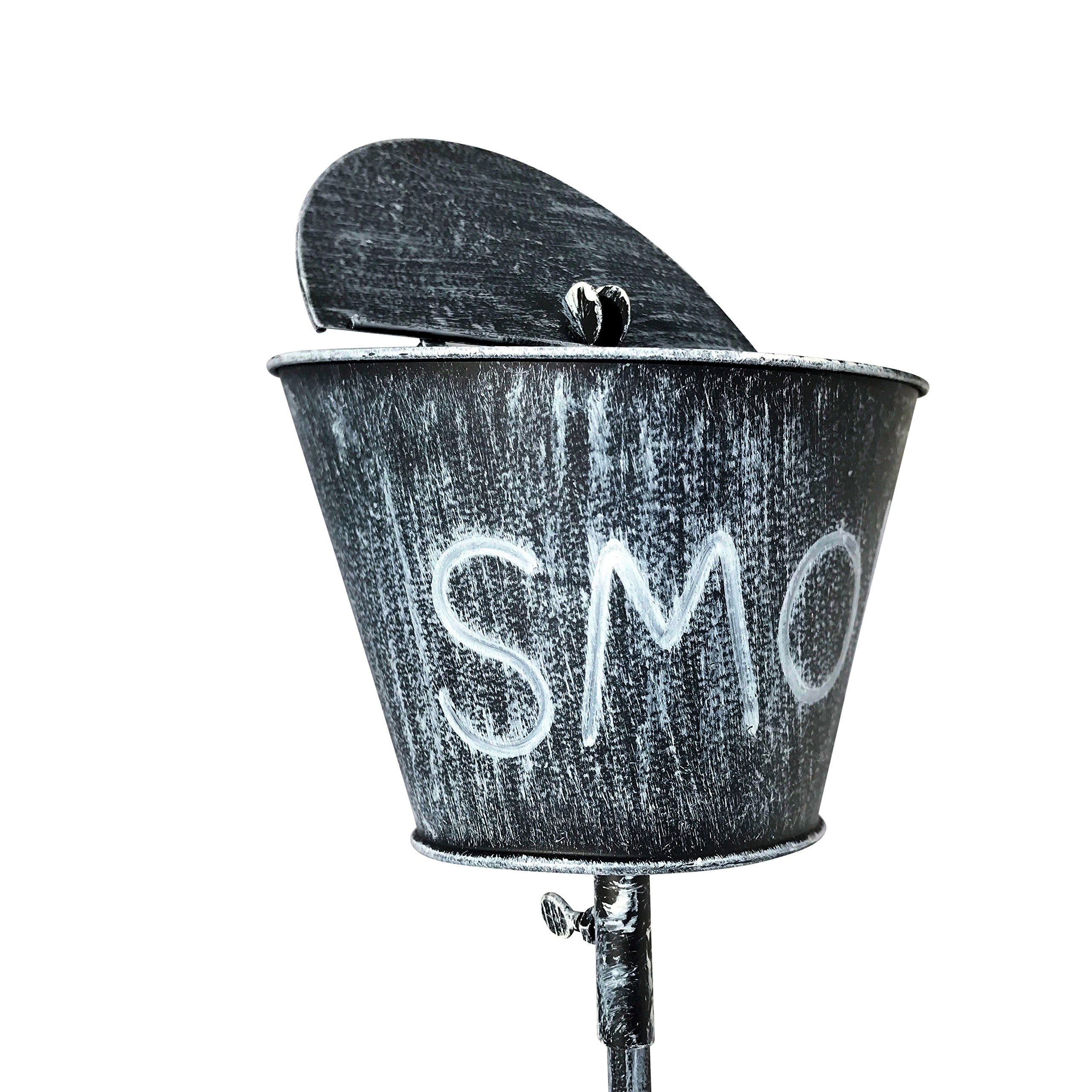 WHW Whole House Worlds Outdoor Smoke Ashtray, Lidded Bucket on Stake with Prong Post, Garden Party Style, Gray Lacquered Iron, Rustic and Weathered Patina, 6 D x 43 1/4 H Inches