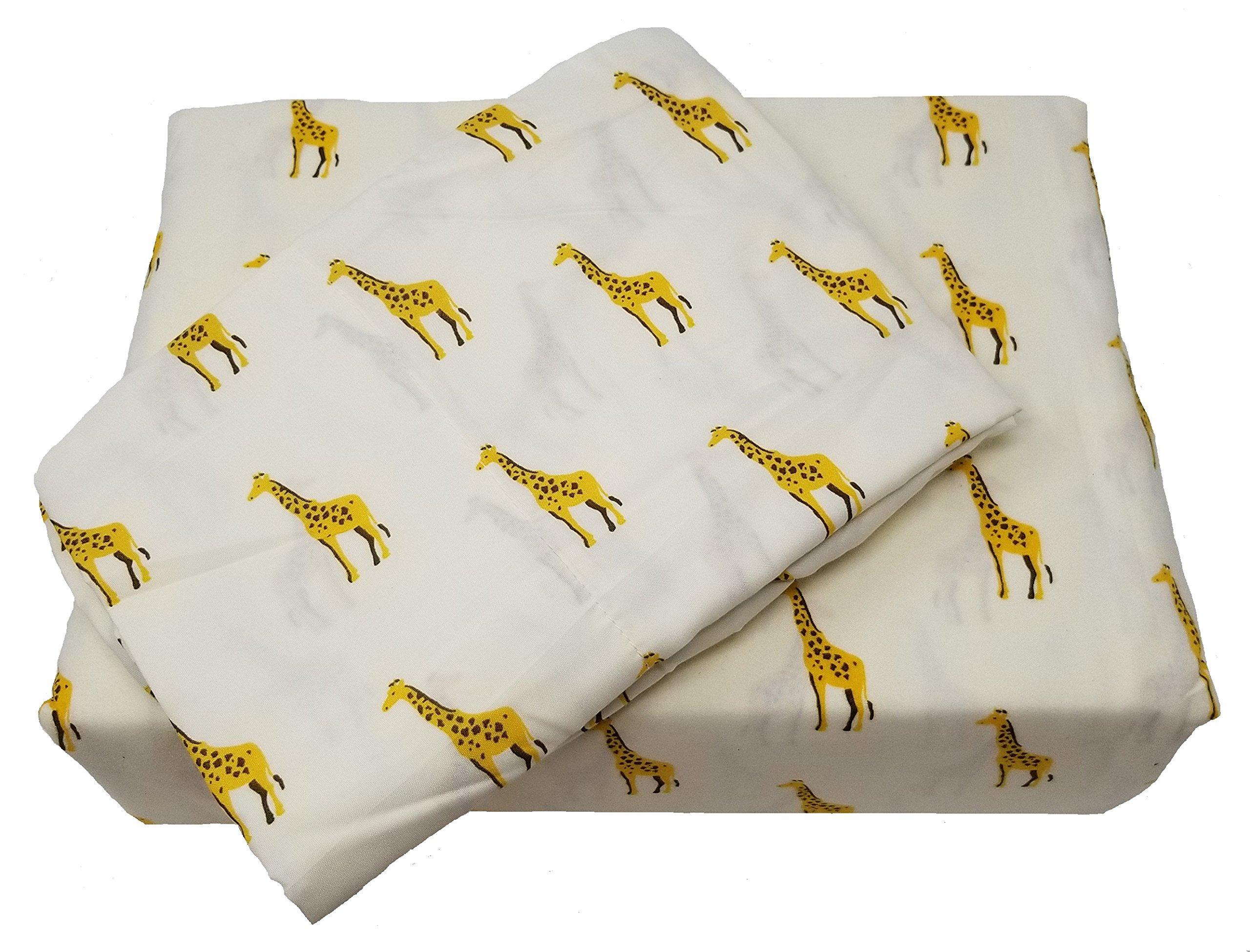 African Safari Giraffe 4pc King Size Microfiber Sheet Set by Safari Home Collection