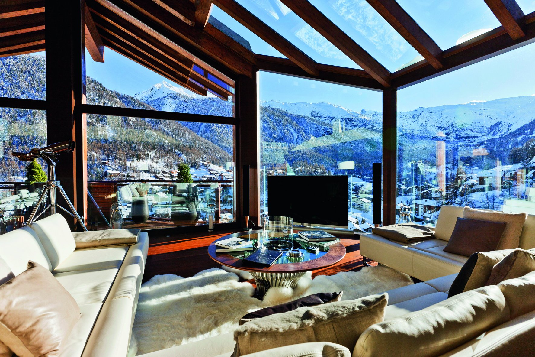 Interior living room in the style of a chalet, photo
