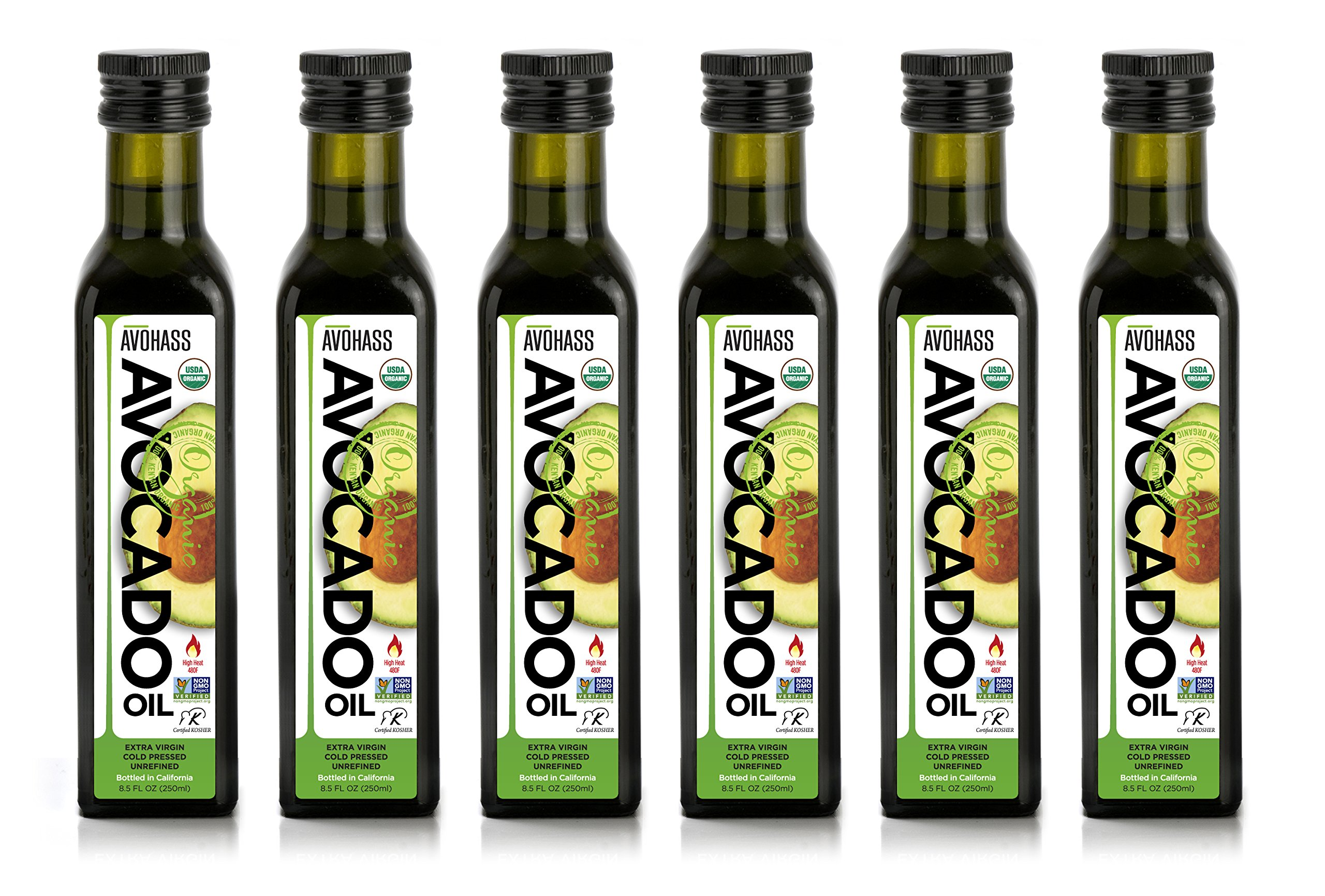 Avohass, Organic, Extra Virgin, Avocado Oil, Product of California, 8.5 fl oz, 6 Bottle Case