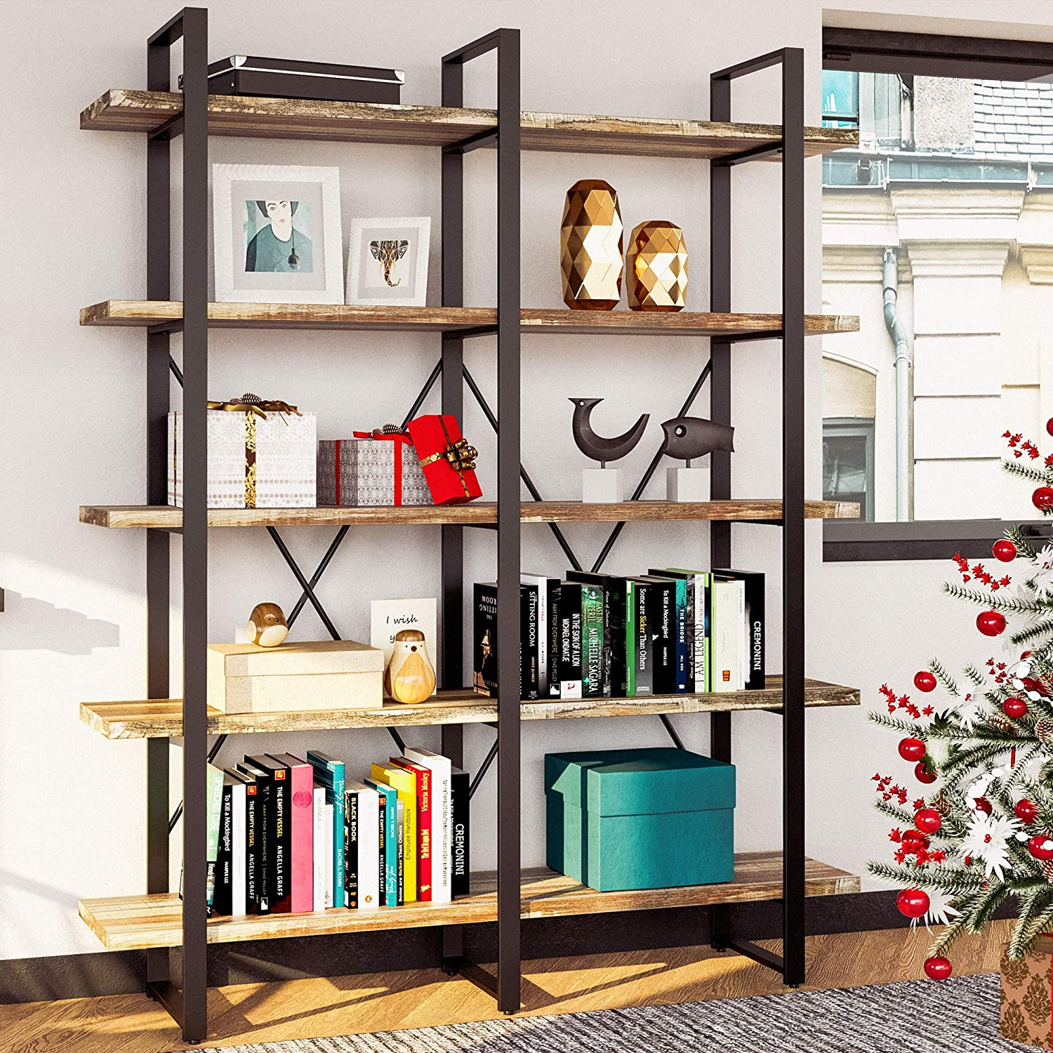 Amazon Com Ironck Bookshelf Double Wide 5 Tier Open Bookcase Vintage Industrial Large Shelves Wood And Metal Etagere Bookshelves For Home Decor Display Office Furniture Furniture Decor