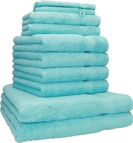 Betz Juego de 10 Piezas de Toallas Premium 100% algodón 2 Toallas de baño 4 Toallas de Mano 2 Toallas Invitados 2 Manoplas de baño Color Turquesa: Amazon.es: Hogar