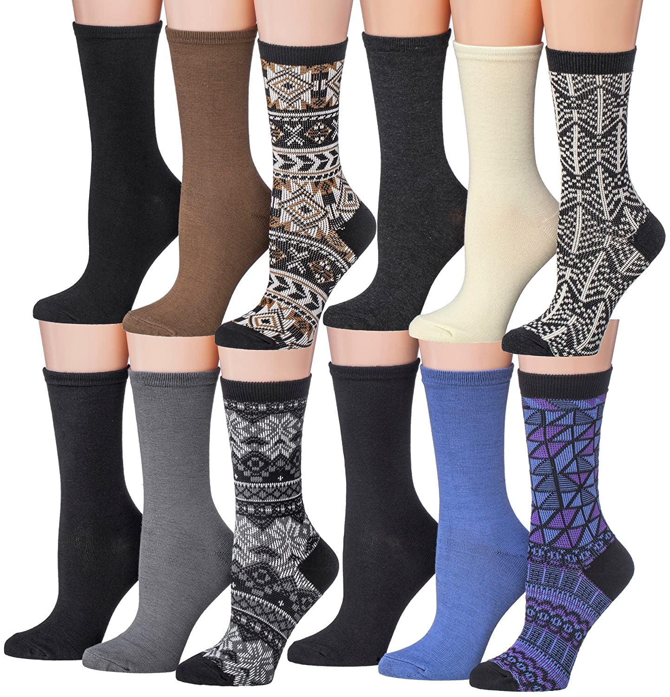 Jv2567 Tipi Toe Women's 12 Pairs colorful Patterned Crew Socks