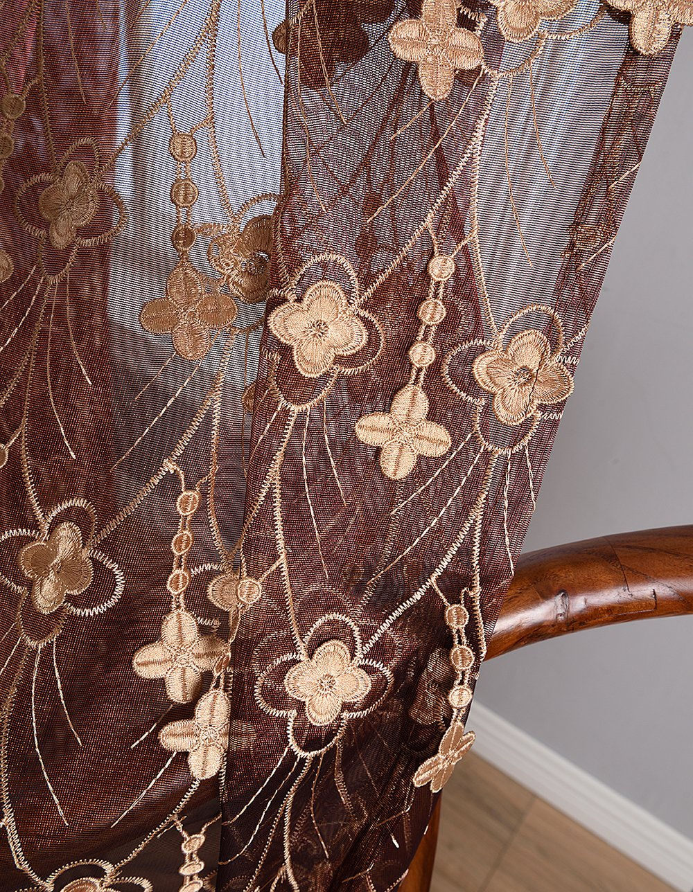 Aside Bside 4 Petals Floral Embroidered Sheer Curtains with Draping Embroidery Decorations Rod Pocket Top Brilliant Design (1 Panel, W 52 x L 104 inch, Red 6) -1281638521048506C1PGC by Aside Bside (Image #5)