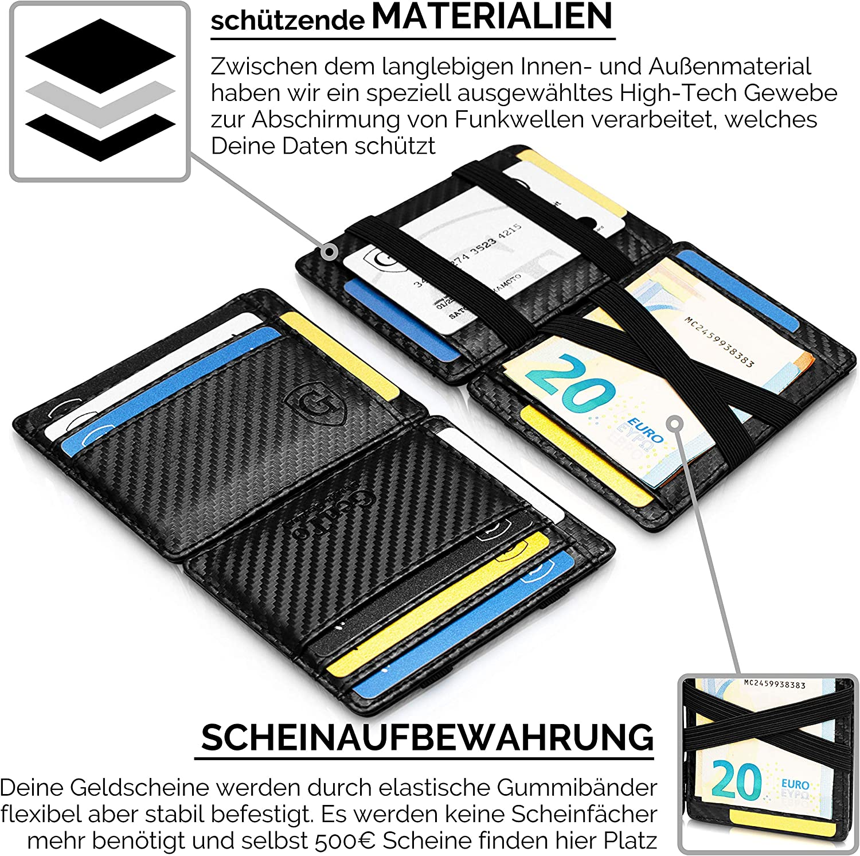 Portefeuille Magique avec Grand Compartiment /à Monnaie Protection NFC GenTo/® Magic Wallet Pacific Noir - Lisse certifi/é T/ÜV RFID Cadeau pour Hommes et Femmes Disponible en 4 Couleurs