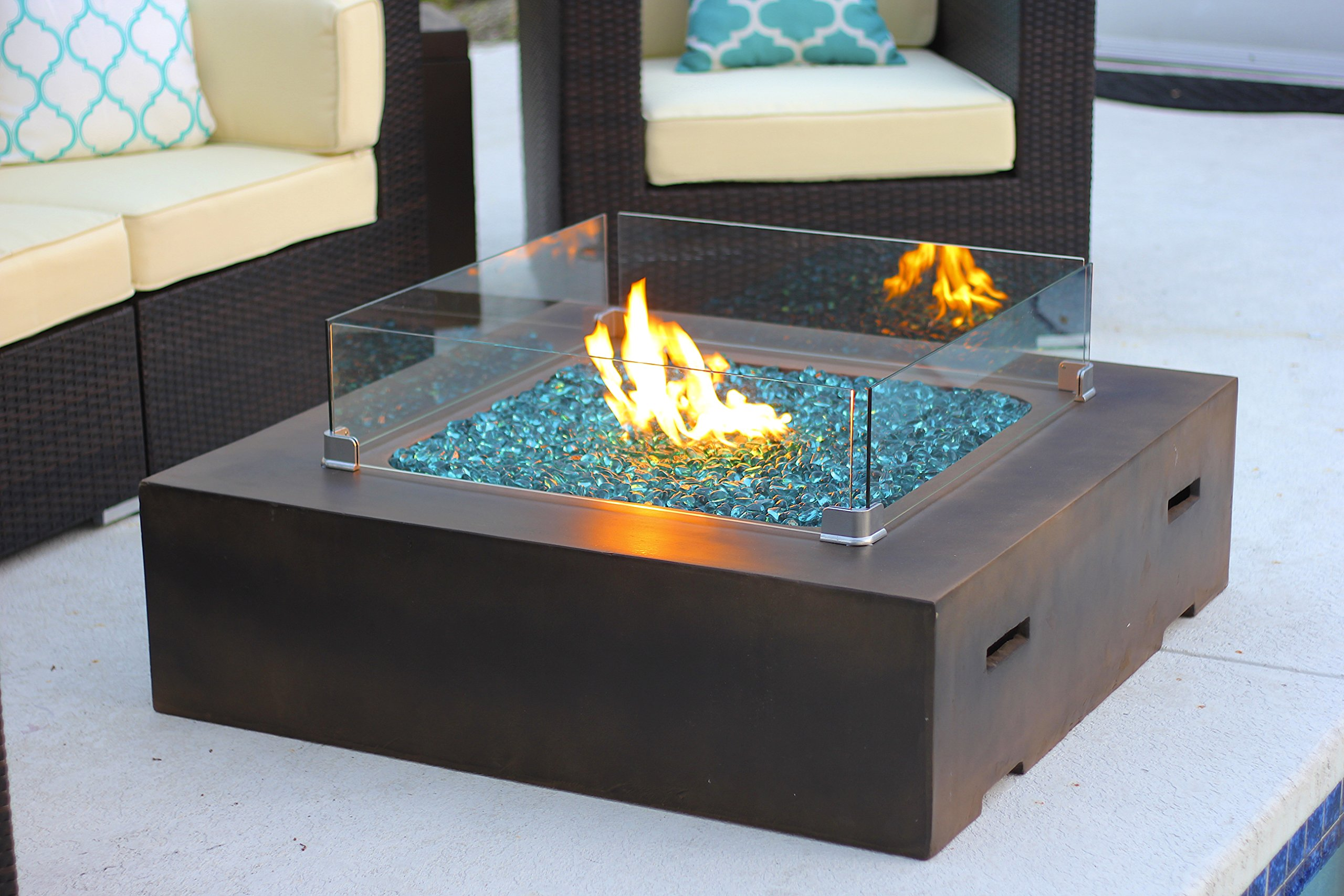 AKOYA Outdoor Essentials 42'' x 42'' Square Modern Concrete Fire Pit Table w/Glass Guard and Crystals in Brown (Caribbean Blue) by AKOYA Outdoor Essentials