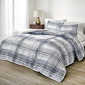 Scott Living Currents Plaid Comforter Set, Full/Queen, Blue/White