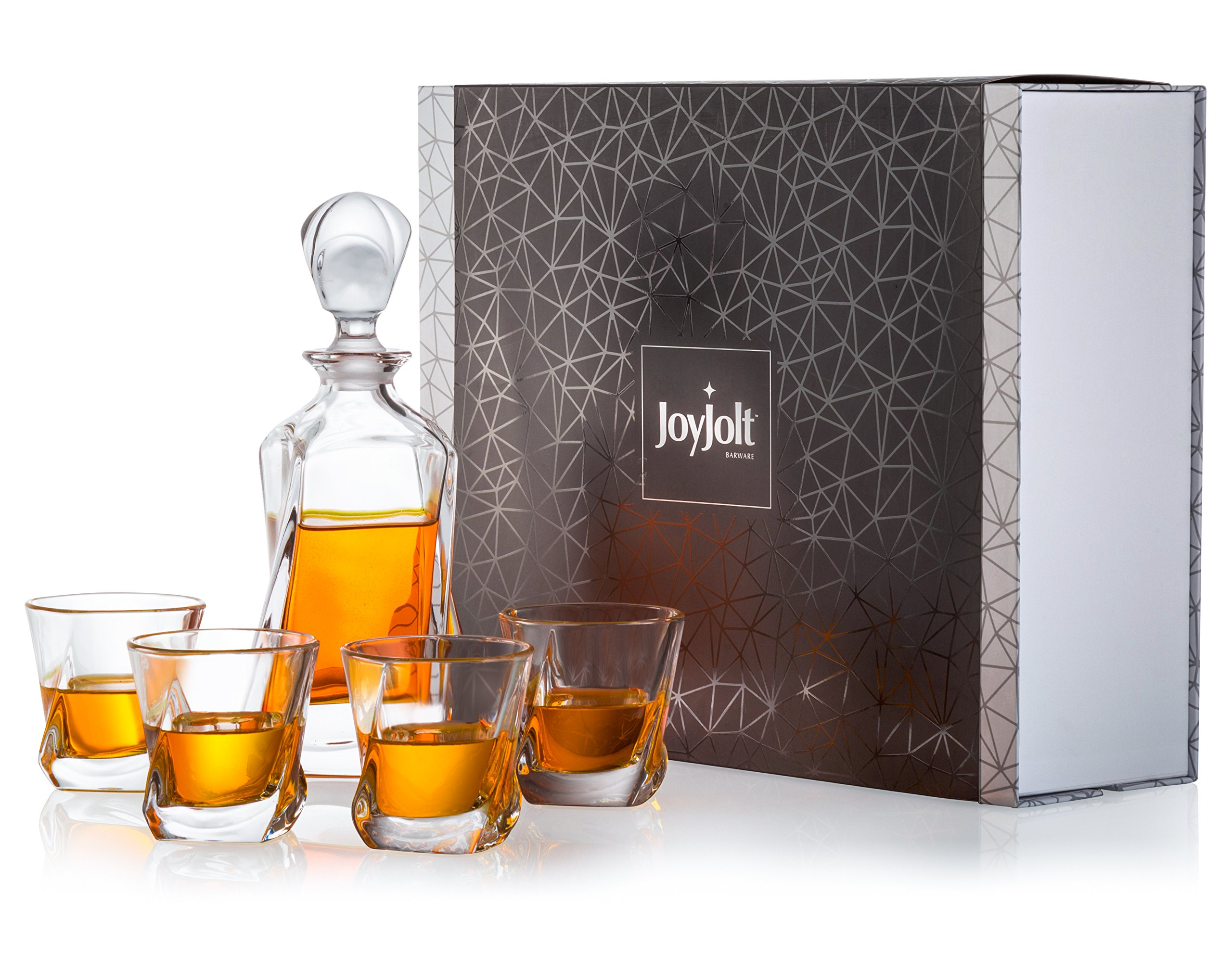 JoyJolt Aurora 5-Piece Crystal Whiskey Decanter Set,100% Lead-Free Crystal Bar Set, Crystal Decanter Set Comes With A Scotch Decanter-25.3 Ounces And A Set Of 4 Old Fashioned Whiskey Glasses-8.10oz