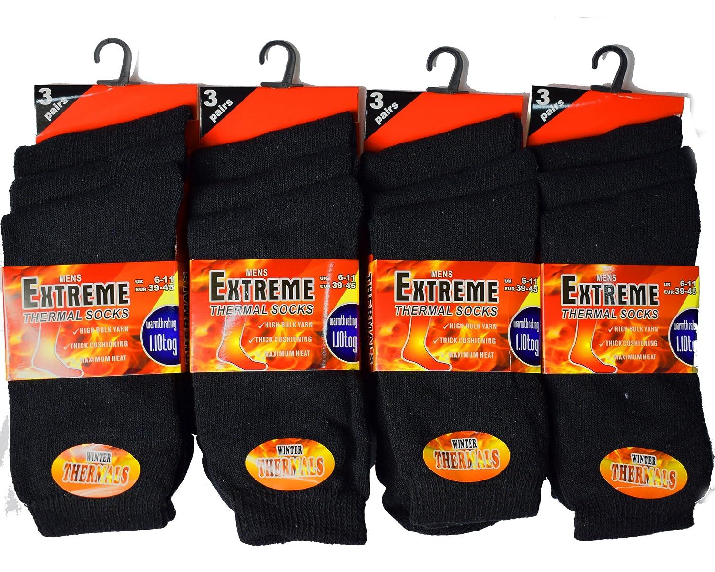 Mens 12 Pairs Thermal Winter Thick Socks Men's Multibuy Multipack Socks Dozen 6-11 12 PACK ASSORTED THERMAL)