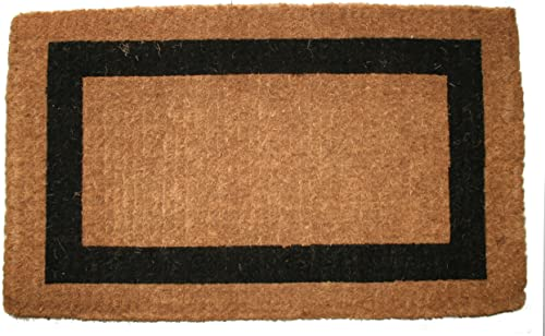 Imports D cor Printed Coir Doormat, 48 by 24-Inch, Classic Single Black Border