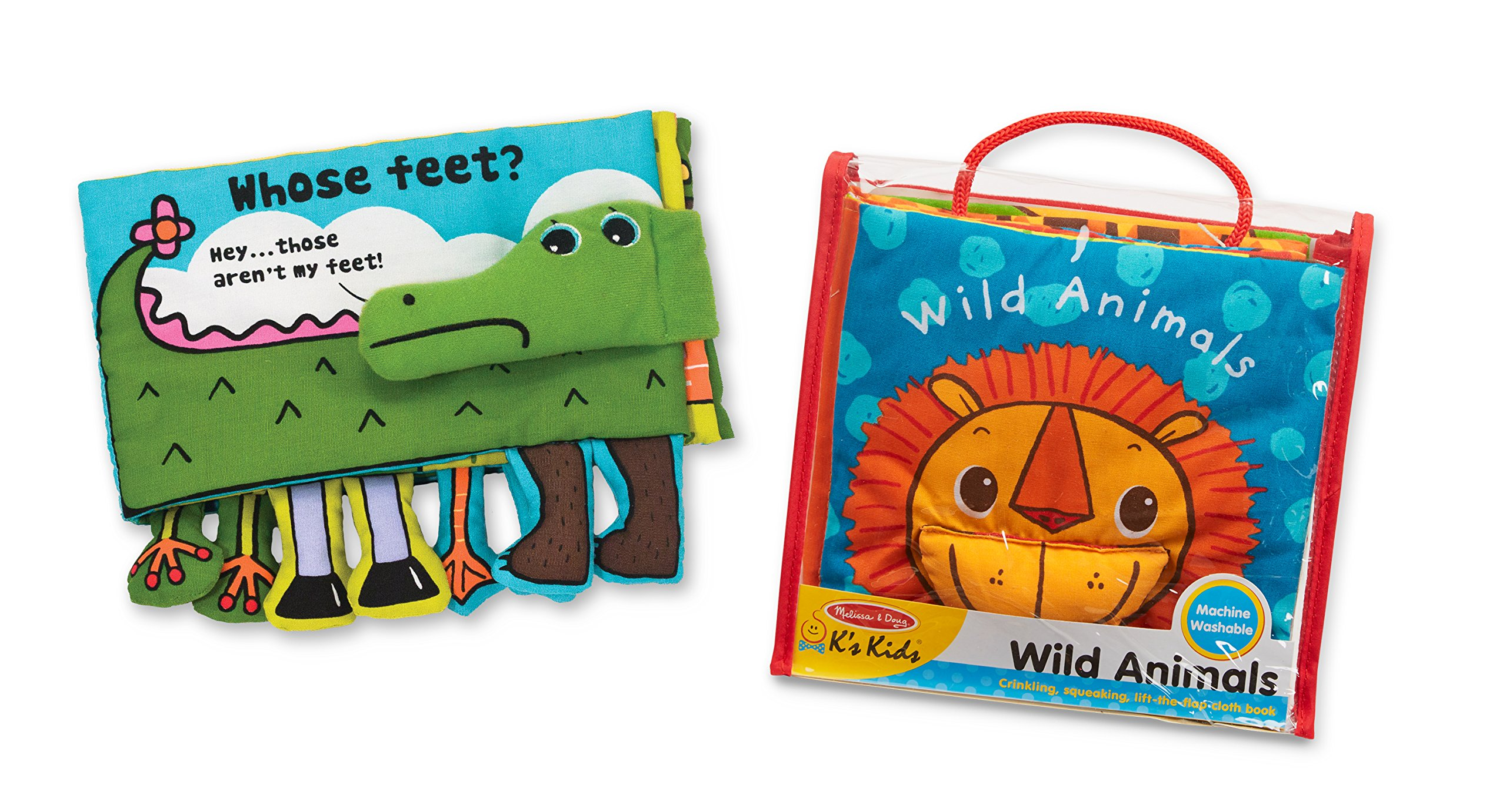 Melissa & Doug K's Kids Soft Activity Baby Book Set: Animals (Whose Feet? and Wild Animals)