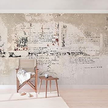 Fototapete | Betontapete Alte Betonwand Mit Bertolt Brecht Versen    Vliestapete Querformat | Tapete Betonoptik Shabby