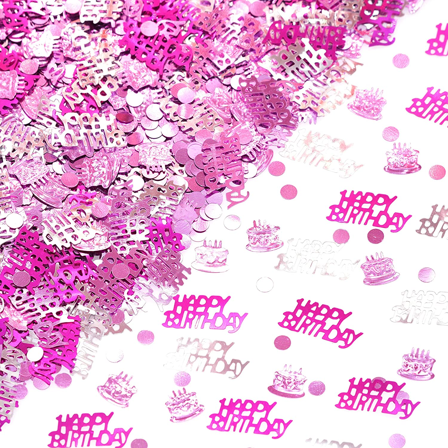 Happy Birthday Party Table Confetti - Hot Pink Purple Foil Metallic Sequins Confetti First Baby Shower Birthday Nursery Party Sprinkles Confetti Decorations, 60g