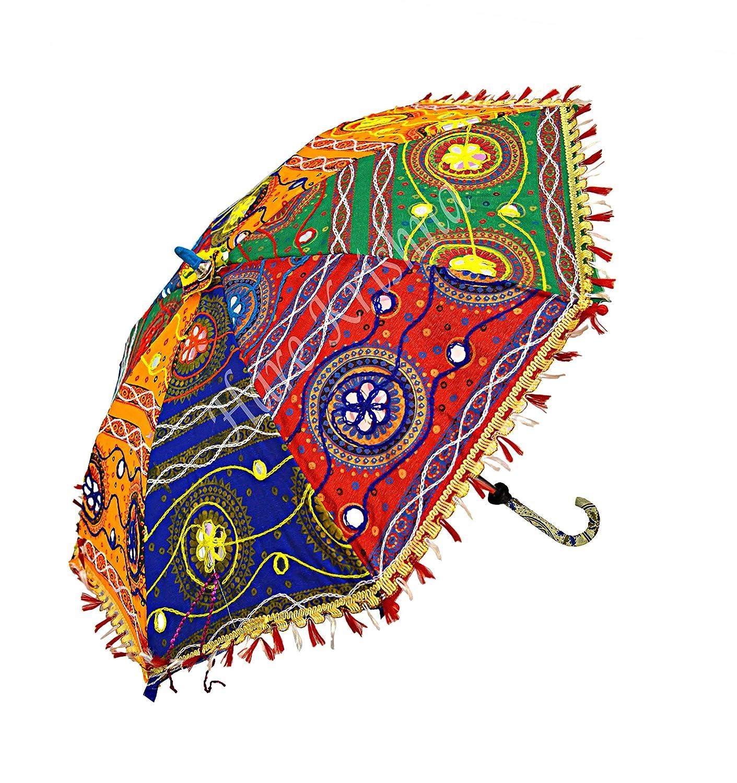 Hare Krishna Bordado de Paraguas de Sol para Mujer Multi Tikki Designer Sombrilla de protecci/ón de Sol Parasol 61 x 71 Cm