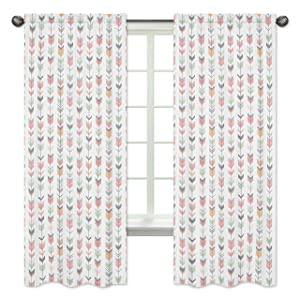 Grey, Coral and Mint Woodland Arrow Girls Bedroom Decor Window Treatment Panels - Set of 2
