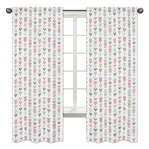 Grey, Coral and Mint Woodland Arrow Girls Bedroom Decor Window Treatment Panels – Set of 2