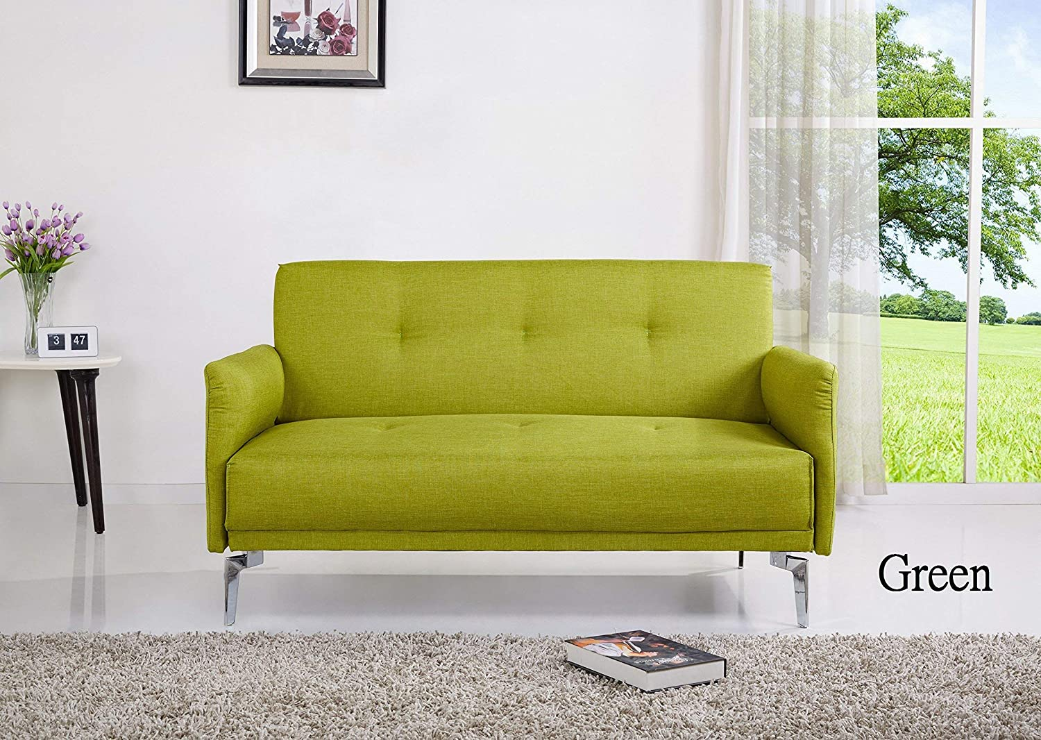 Amazon com container furniture direct s5050 emma collection modern fabric upholstered 2 person living room loveseat green kitchen dining