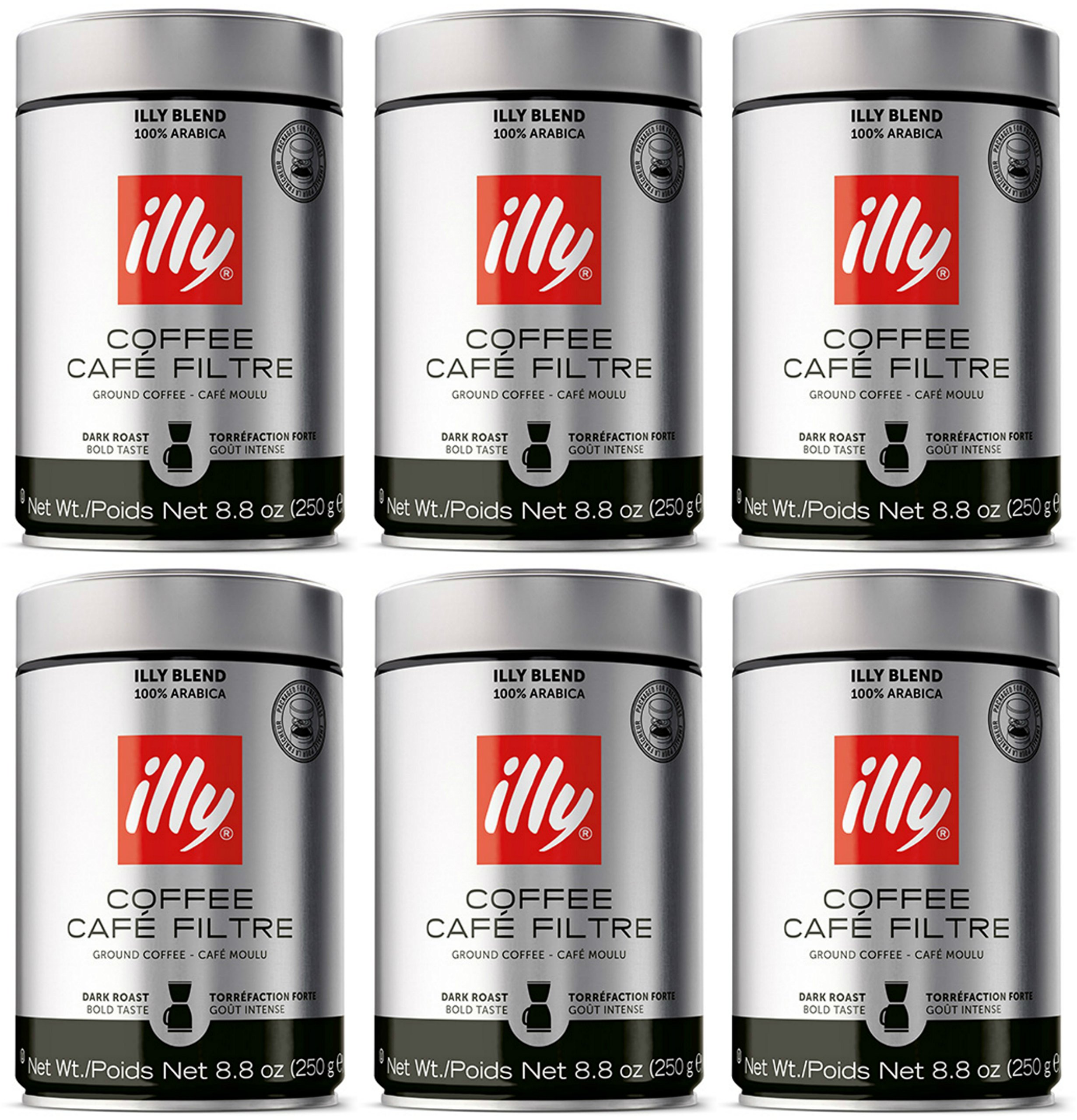 illy Caffe Scuro Drip Grind (Dark Roast, Brown Band), 8.8-Ounce Tins (Pack of 6) by Illy