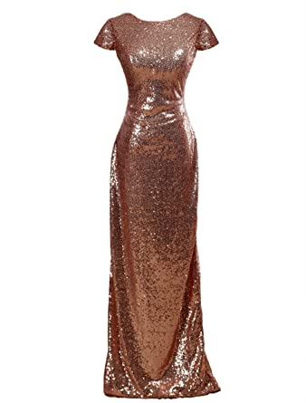 dressblee Women Sequin Bridesmaid Dress Fashion Evening Prom Dresses 2US Rose Gold