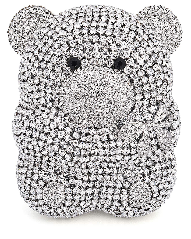 Mossmon Luxury Crystal Clutch Bear Evening Bag (Silver)
