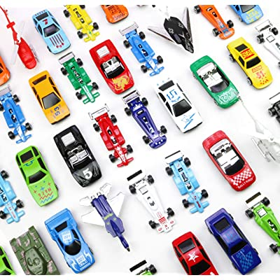 Fun toys Die Cast Metal Plastic Toy Car, a Massive Set of 50 Toy Cars, Racer Cars, and Aircraft,: Toys & Games