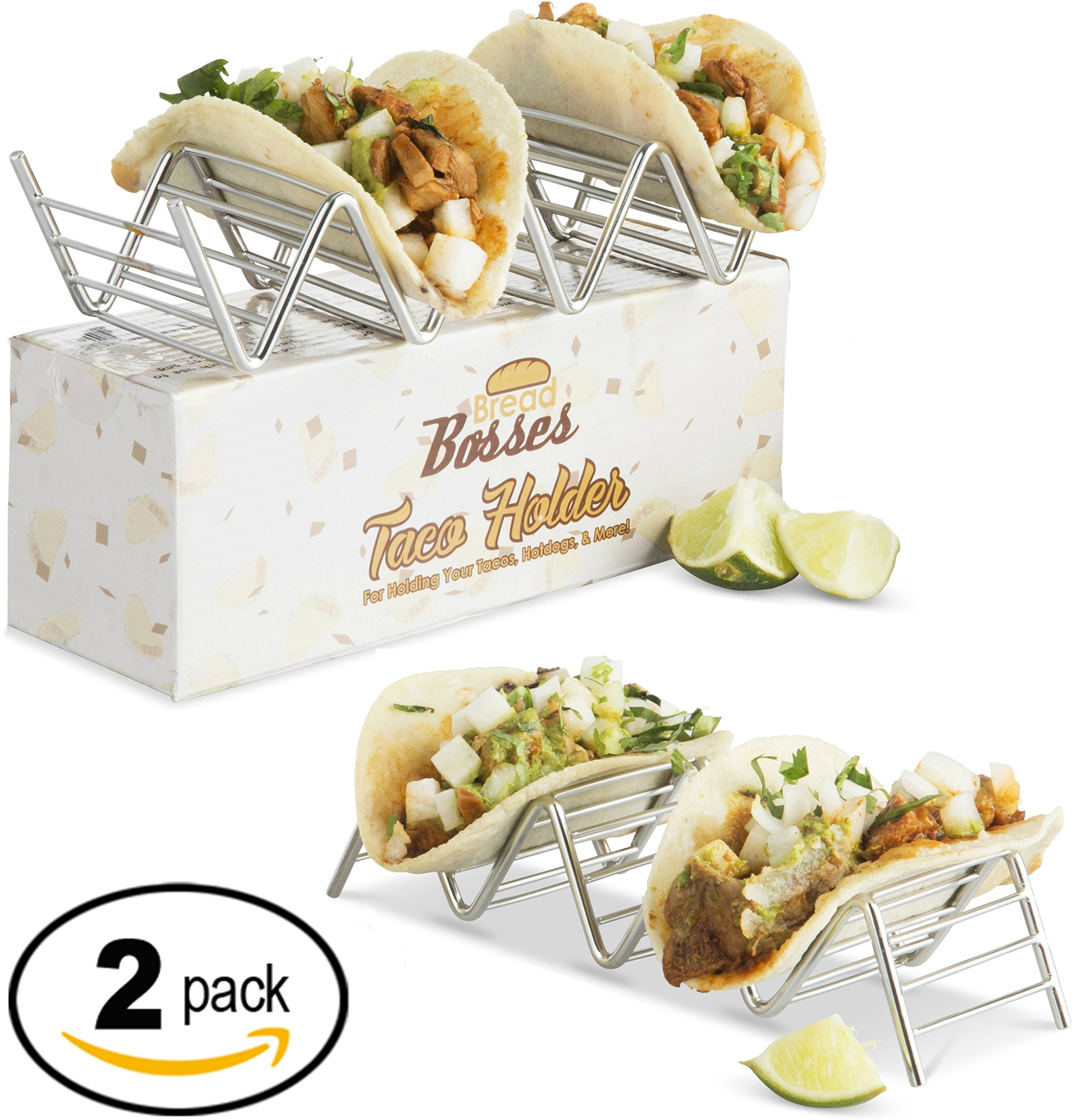 Stainless Steel Taco Holder Set: Holds Tortilla Up for Easy & No Mess Party Taco Plates - Taco Stand Shell Holder to Serve Street Tacos Rack & Heat Tortillas - Metal Taco Shell Mold & Serving Trays