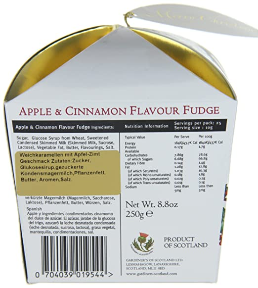 Amazon.com : Gardiners of Scotland Apple und Cinnamon Christmas Fudge 250g, 1er Pack (1 x 250 g) : Grocery & Gourmet Food