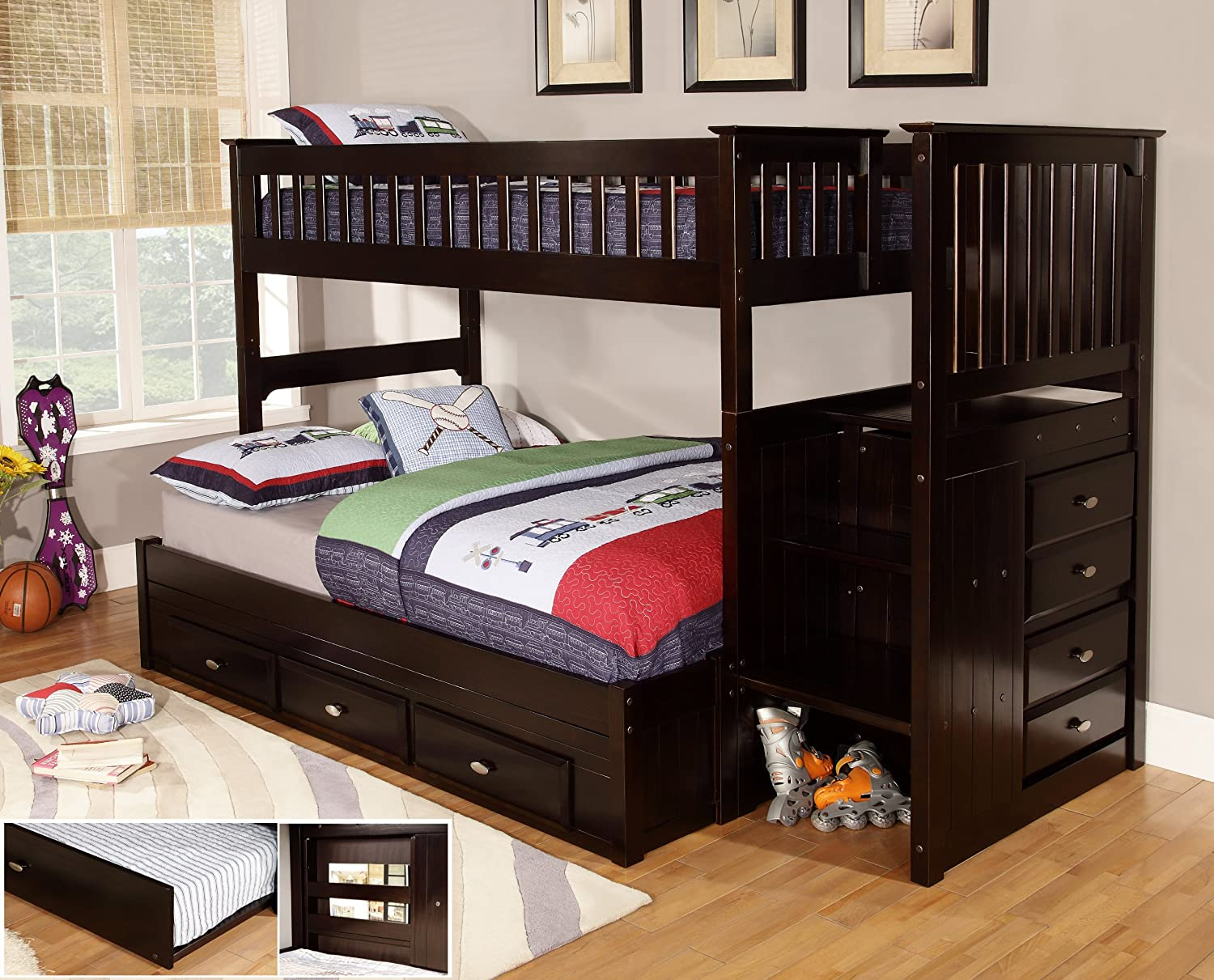 Amazon Com Discovery World Furniture Twin Over Full Staircase Bunk Bed With 3 Drawer Storage Espresso Kitchen Dining