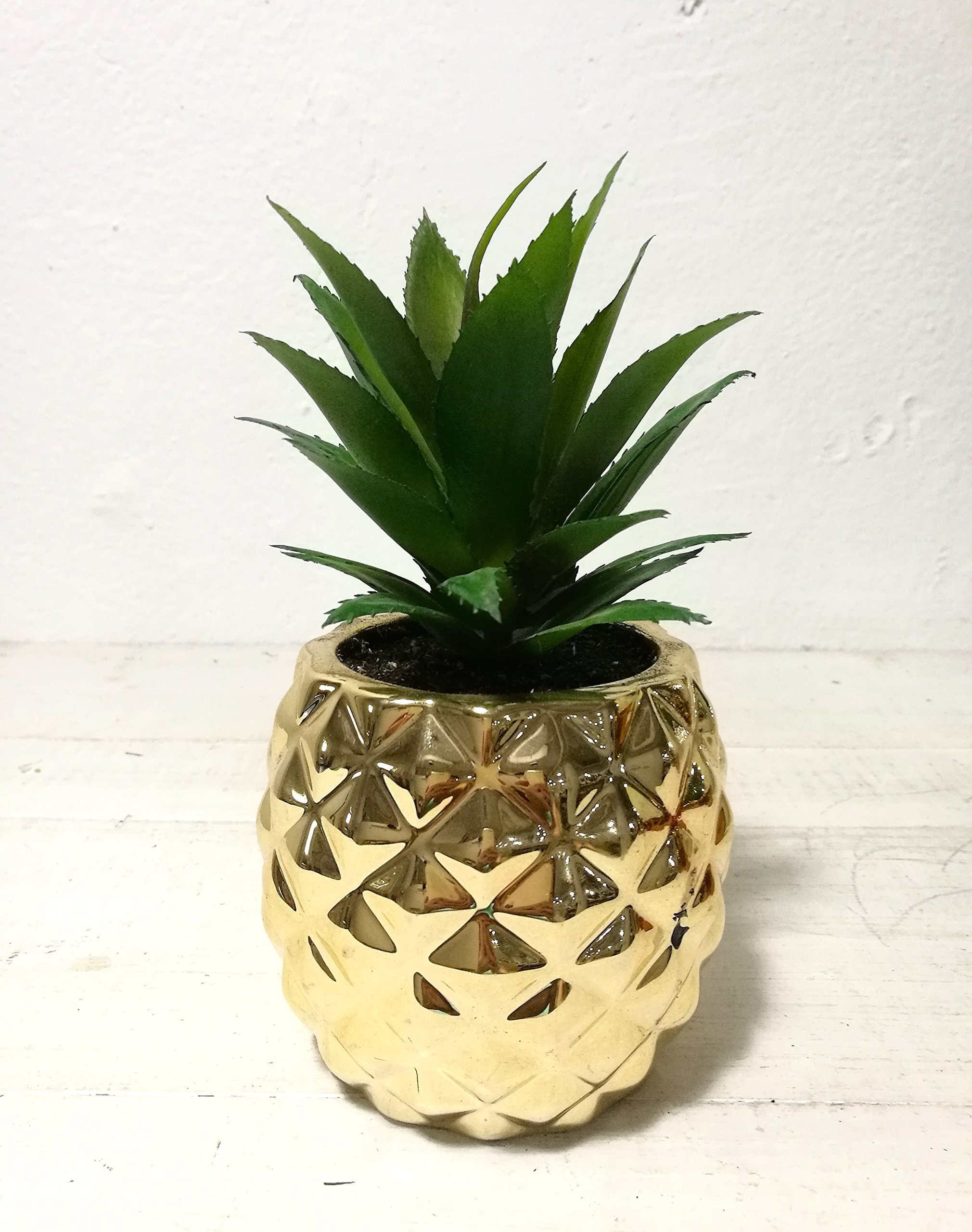 Artificial Potted Succulent 7.8'' Pineapple Gold Home Tabletop Decoration