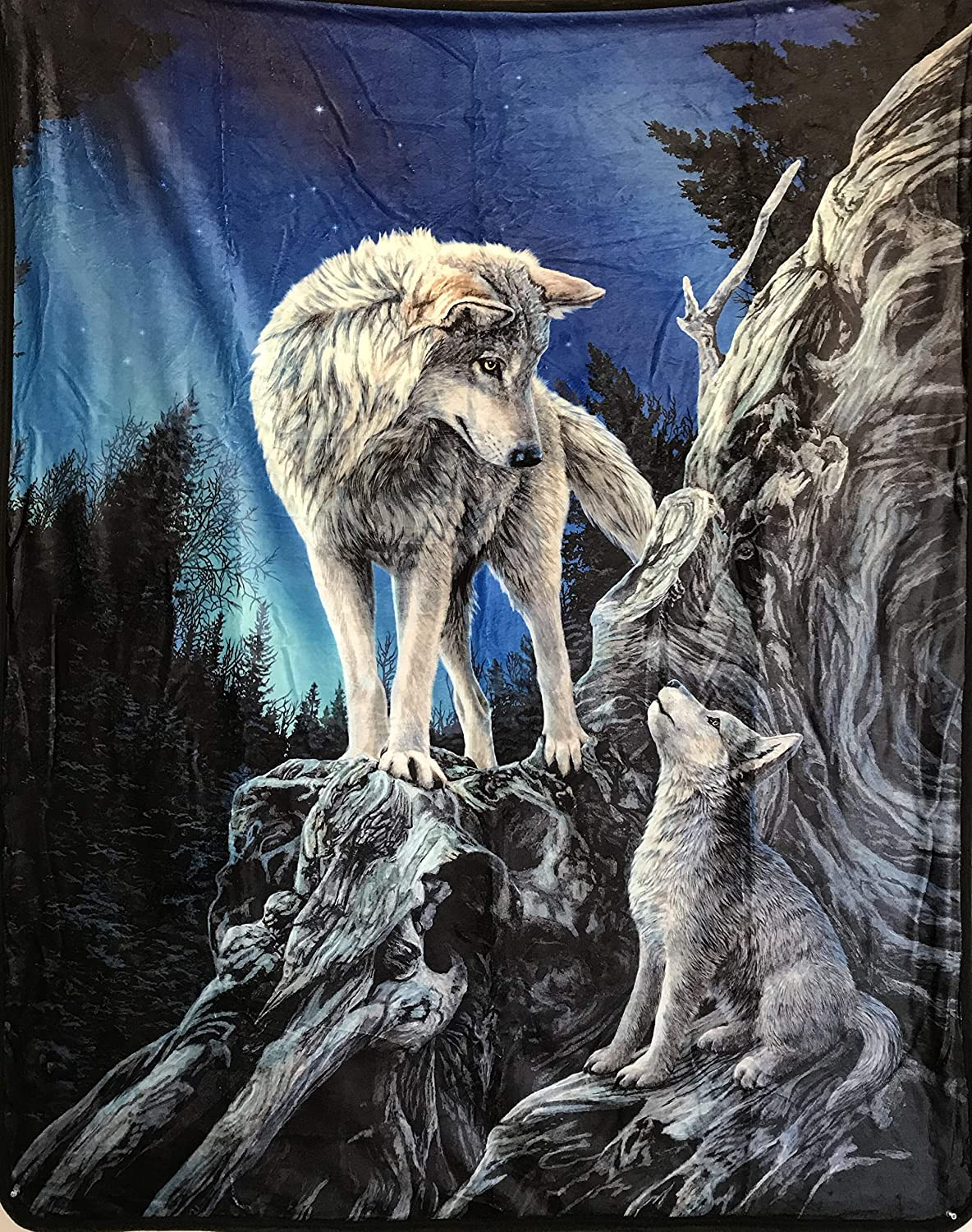 Lisa Parker Wolf Guidance Silk Touch Throw with Sherpa Lining, Measures 50 by 60 inches