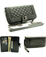 """ZZYBIA® Crossbody / Wristlet Clutch 2 way Coin Zip Mobile Case Wallet Card Holder with Detechable Long Chain For Apple iPhone 6 Plus / Universal fit most smartphones up to 6.5"""" x 3.5"""""""