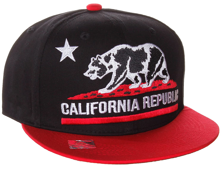 Amazon.com  California Republic Flat Bill Vintage Style Snapback Hat Cap  BLACK RED  Clothing dcdc7fef802