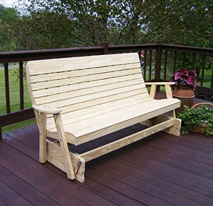 Superieur 4u0027 PORCH GLIDER Outdoor Patio Bench, 2 Person Wooden Loveseat Patio Benches  Made With