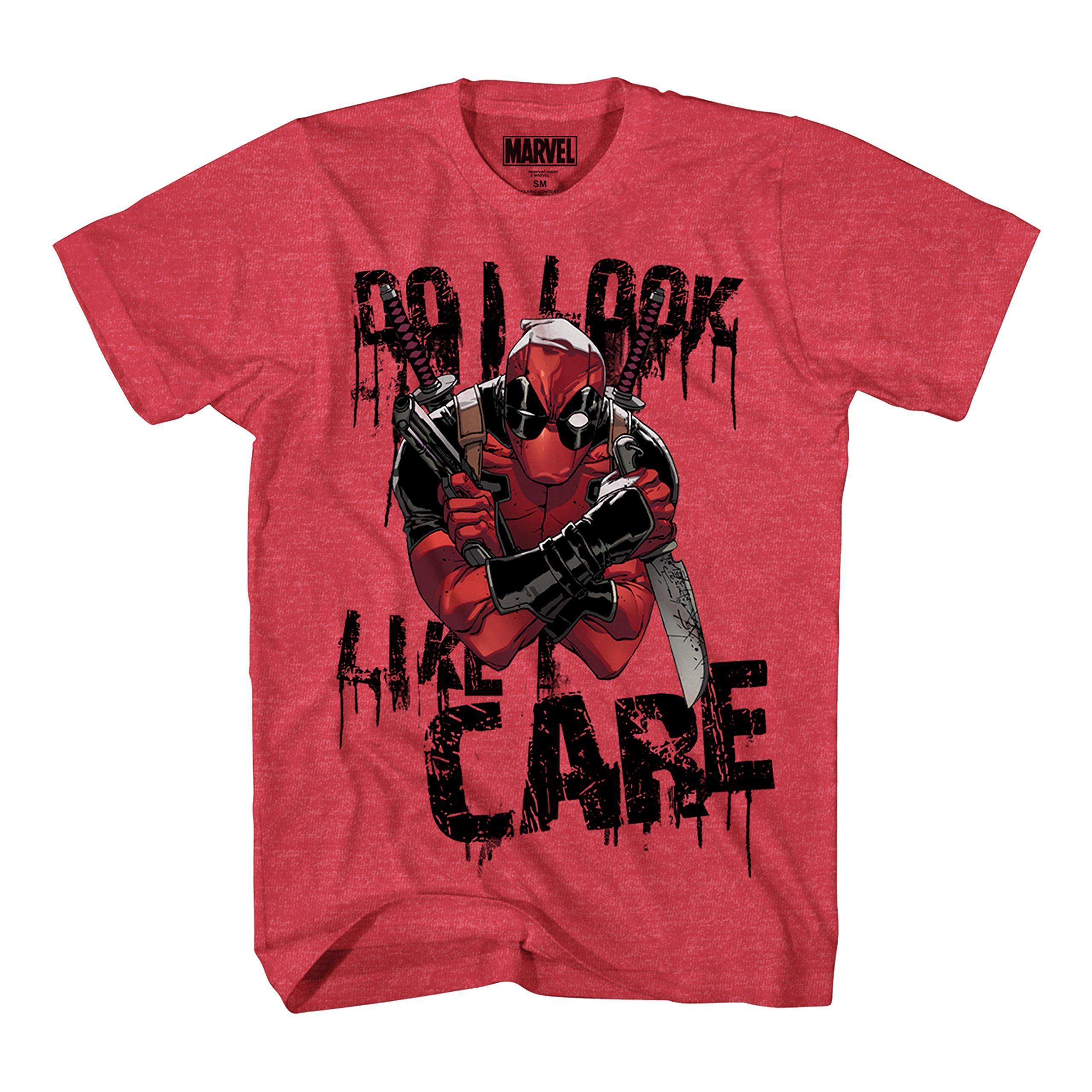 Marvel Deadpool Do I Look I Care Mens T-Shirt (Large, Heather Red)