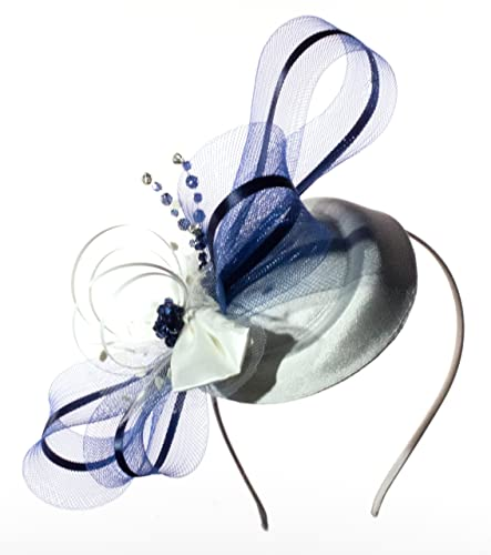 Ivory and Navy satin with diamantè Bridal hatinator fascinator on an ... f65d1ed0c68