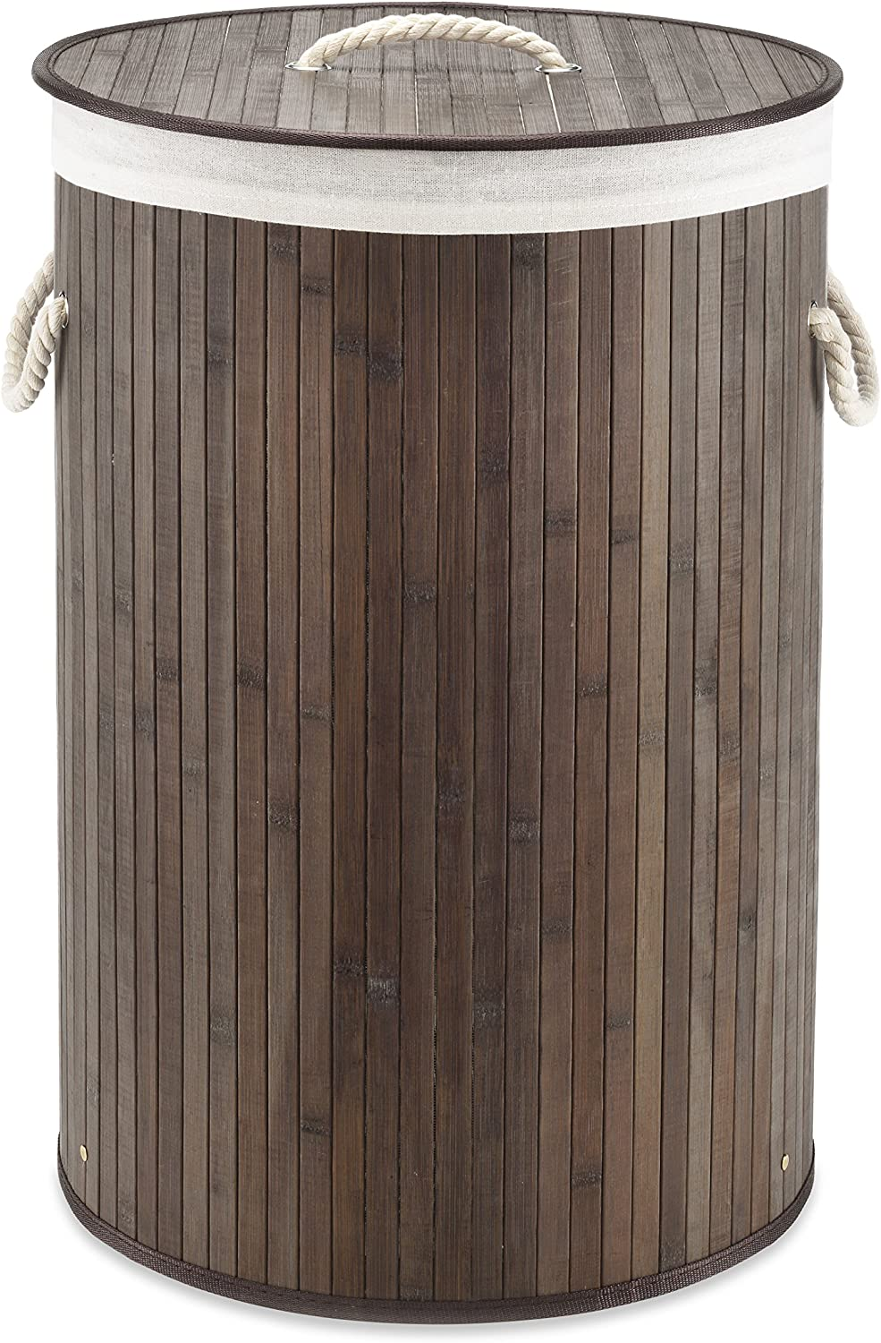 Whitmor Laundry Hamper with Rope Handles Bamboo, 16.25x23.375, Dark Stain