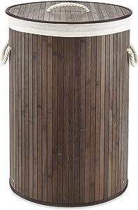 Whitmor Laundry Hamper with Rope Handles Bamboo, 16.25x23.375, Dark Stain