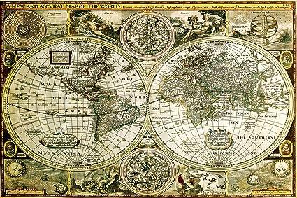 World Map Old Style.Amazon Com World Map Hisorical Antique Vintage Old Style Decorative